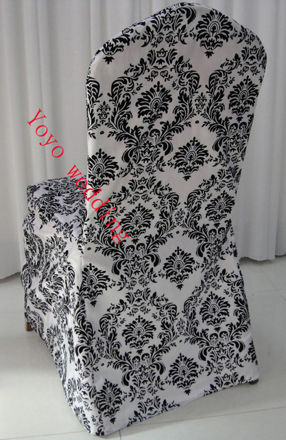 White And Black Flocking Taffeta Damask Chair Cover