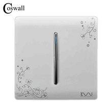 COSWALL Fashion Pass Through Wall Switch 1 Gang 2 Way On / Off Switch Ivory White Brief Art Weave Light Switch