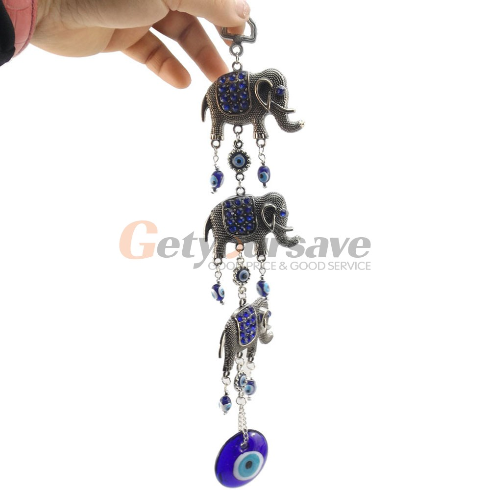 3 Lucky Elephants Turkish Blue Eye Nazar Amulet Wall Hanging Protection Home Decor Blessing Gift