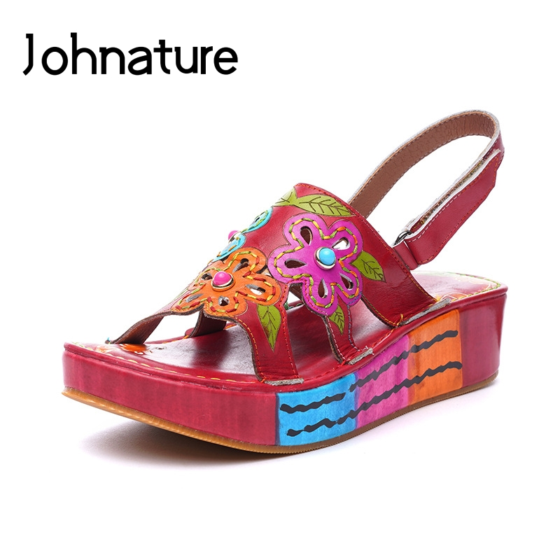 Johnature Genuine Leather Ankle wrap Casual Summer Platform Sandals Hook Loop Hand painted Retro Flower Wedges