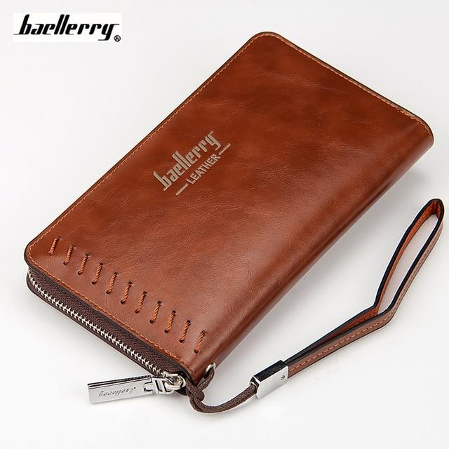 Wallet Men Business Purse 2017 New Male Big Long Wallets Man Pu Leather Clutch Zipper Card Holder Pocket Casual Black Purses