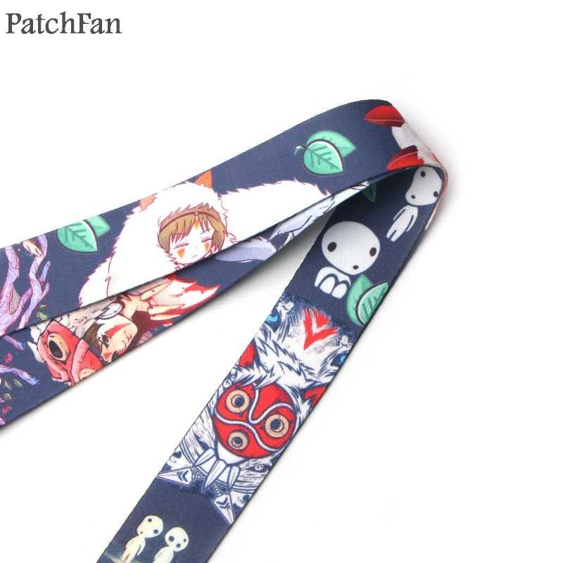 Patchfan Princess Mononoke Kartun Gantungan Kunci Lanyard Anyaman Pita Leher Tali Kain untuk Lencana ID Pemegang Telepon Kalung A1422