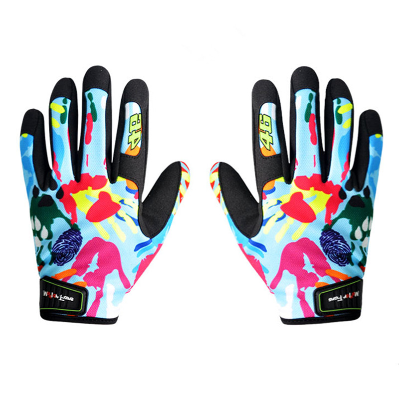 New Brand Print Logo 46 Gloves Leather Touch Screen Motorcycle Gloves Outdoor Racing motocross Gloves guantes moto motocicleta