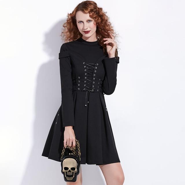 Women Black Winter Dress Autumn Long Sleeve A-Line Pleated Mini Dress Gothic Style Goth Patchwork Bandage Lace Up Vintage Dress 2