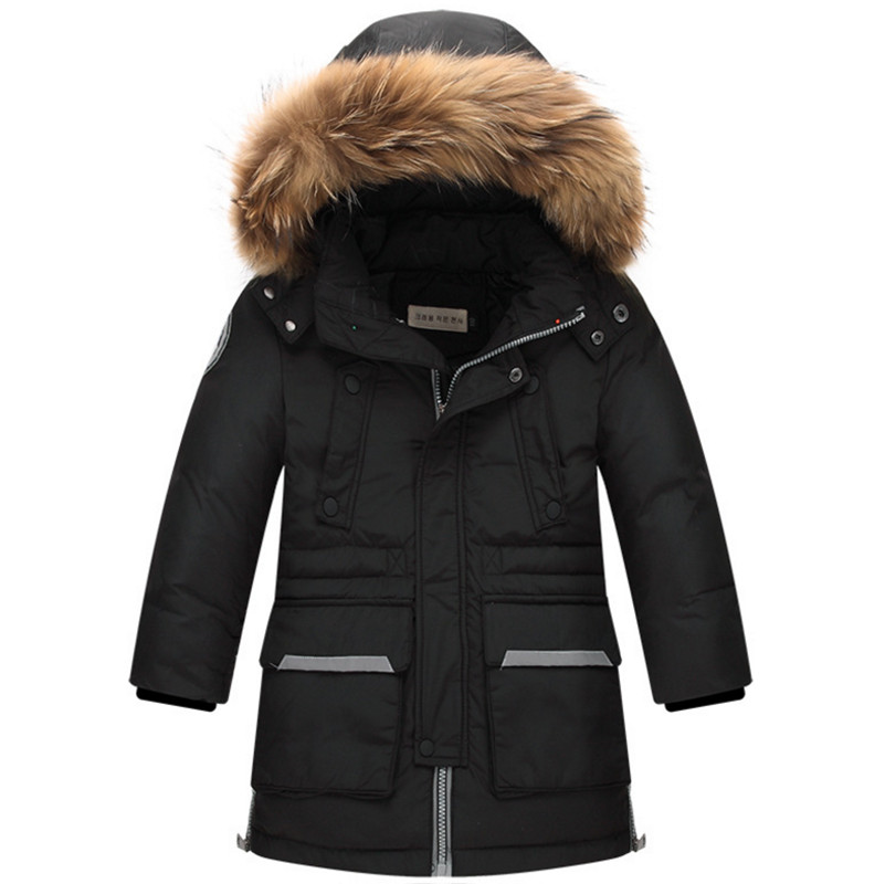 8-17T Boys Winter Coat Down Jacket Outerwears Fashion Long Hooded Patchwork Big Fur Collar Pockets Zippers Children Overcoat stylish turn down collar long sleeve zip pockets women s black jacket