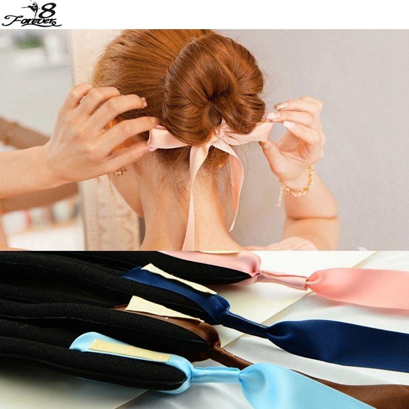 Us 0 69 30 Off Fashion Magic Tools Foam Sponge Device Quick Messy Donut Bun Hairstyle Girl Women Hair Bows Band Accessories Silk Headband 39547 In