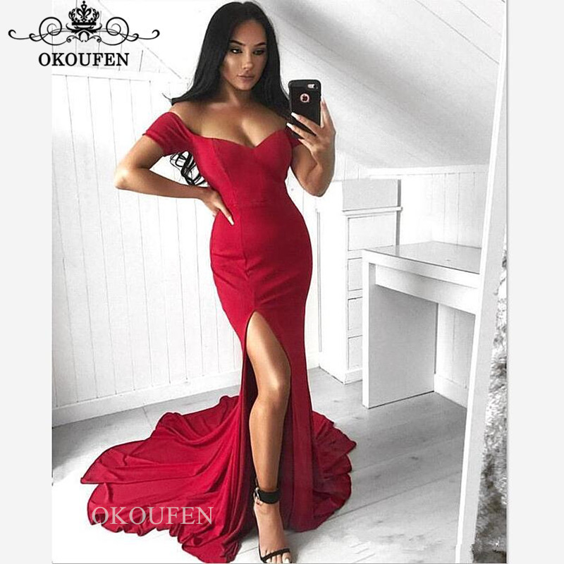 Red Off Shoulder   Bridesmaid     Dresses   For Women Wholesale Price 2019 Sexy Side Split Mermaid Long Party   Dress   Maid Of Honor Gown