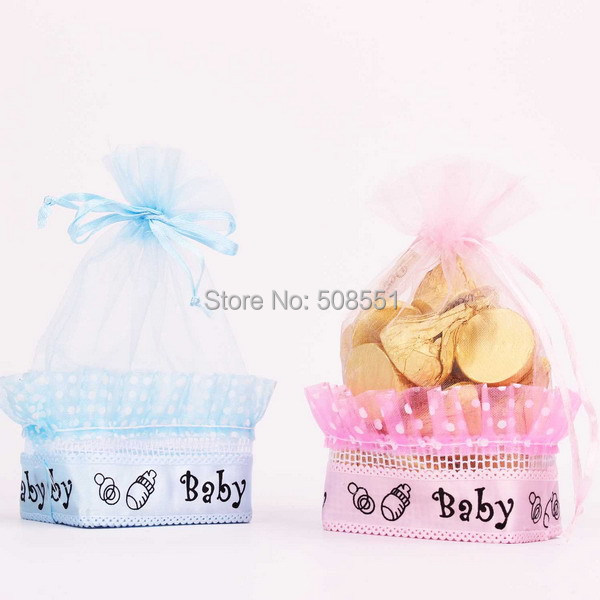 Basket Shape Organza Baby Candy Favor Gift Bag/Bags Pink and Blue Color Optional 12pcs