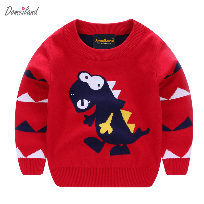 2017 fashion spring brand domeiland Children boy clothing Sweaters Cute Cartoon dinosaur Pullove cotton long sleeve Clothes