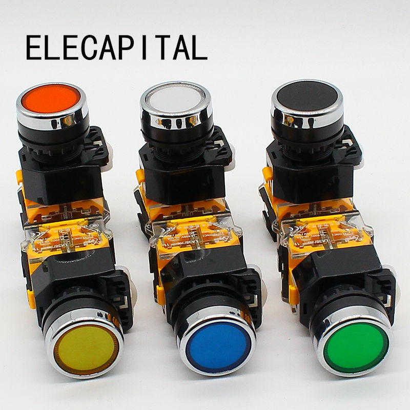 22mm momentary Push button switch 1NO+1NC 5 pcs push button switch industrial switch led latching or momentary waterproof ip65 1nc 1no 2nc 2no 6 colors