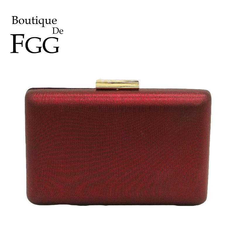 Boutique De FGG Simple Design Red PU Women Metal Day Clutches Evening Handbags Chain Shoulder Crossbody Bag Wedding Dinner Purse