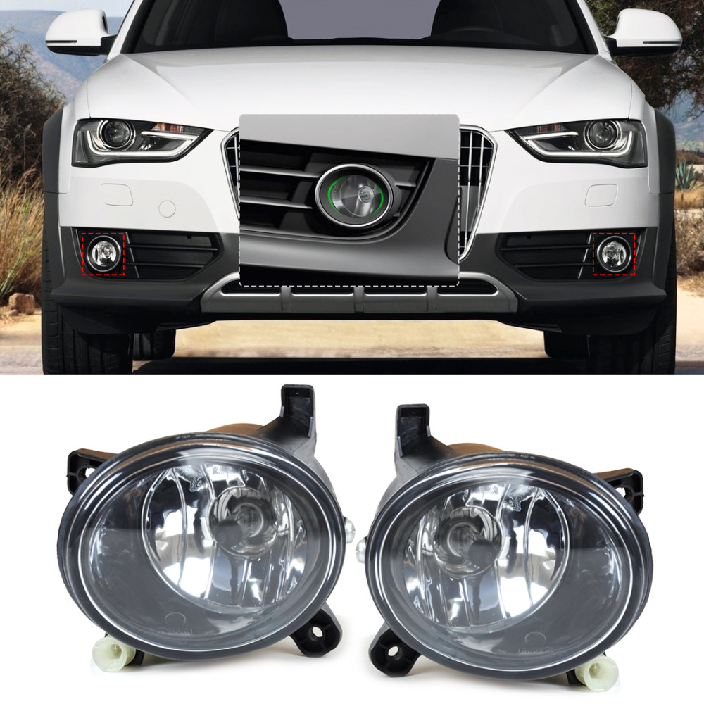 beler New Black Aluminum And ABS Pair Front Right Left Fog Light Lamp 8T0941699B 8T0941700B for Audi A4 A6 A5 A6 Q5 S4 S5 beler high quality abs plastic car black 2pcs front bumper fog light cover grille 2pcs lamp set for ford fiesta 2014