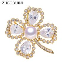 ZHBORUINI 2019 Fine Jewelry Natural Freshwater Pearl Brooch Creative Rinestone Clover Pins Women Corsage