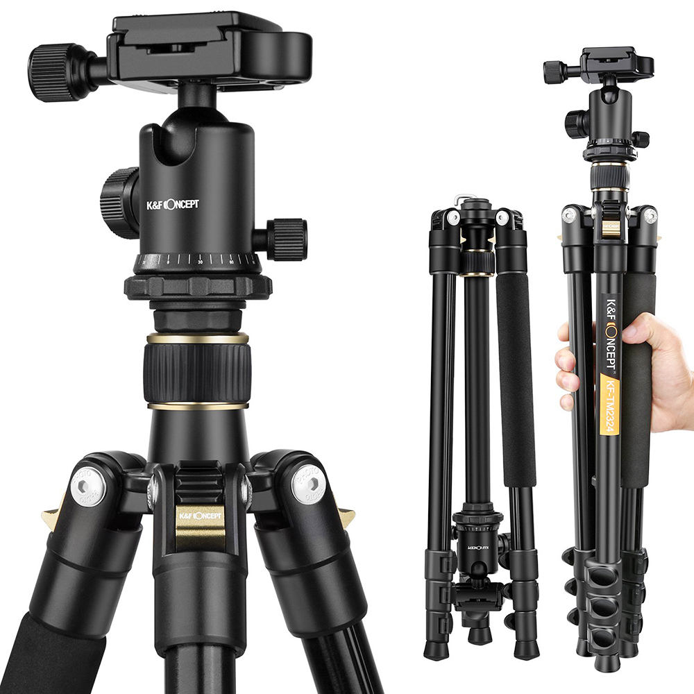 K F Concept TM2324 lightweight Portable Professional Travel Camera Tripod aluminum Ball Head compact for digital
