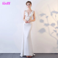Gorgeous Ivory Formal Dress Party 2018 White Evening Dresses Long V Neck Elastic Satin Appliques Plus