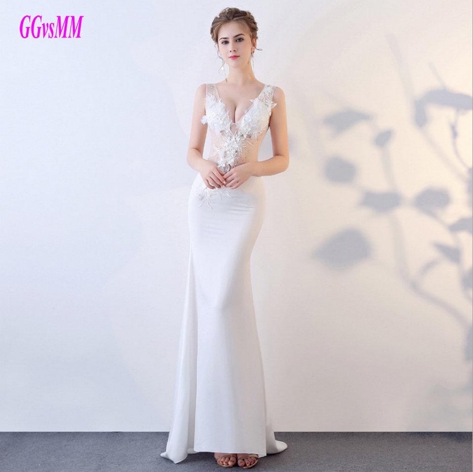 Gorgeous Ivory Formal Dress Party 2018 White Evening Dresses Long V ...