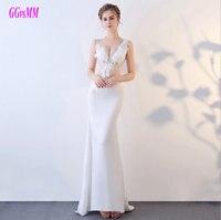 Wunderschöne Elfenbein Formales 2018 Weiß Abendkleider Lange V-ausschnitt Elastische Satin Appliques Plus Abendkleider Nach Maß