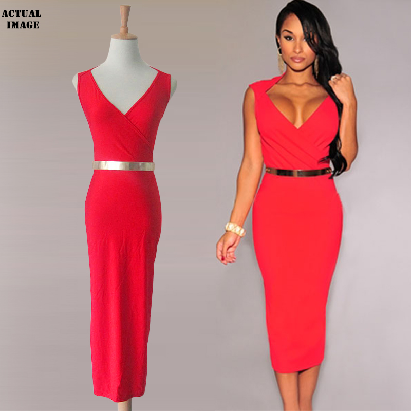 new style women sexy V-neck club midi dress knee-l...