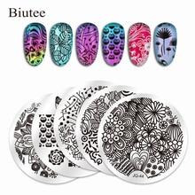 Biutee 10Pcs Nail Plates +1 Stamper + 1 Scraper 304 Stainless Steel Na