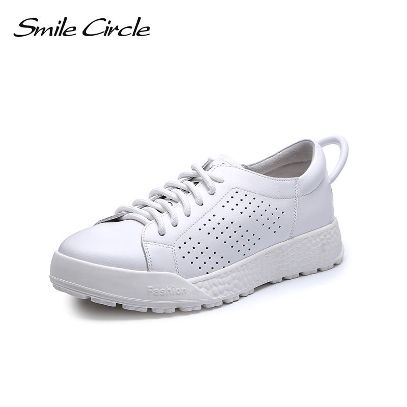 Smile Circle Spring summer Sneakers Women Genuine Leather Flat Platform shoes Fashion Breathable Casual Shoes For woman 2018 instantarts women flats emoji face smile pattern summer air mesh beach flat shoes for youth girls mujer casual light sneakers