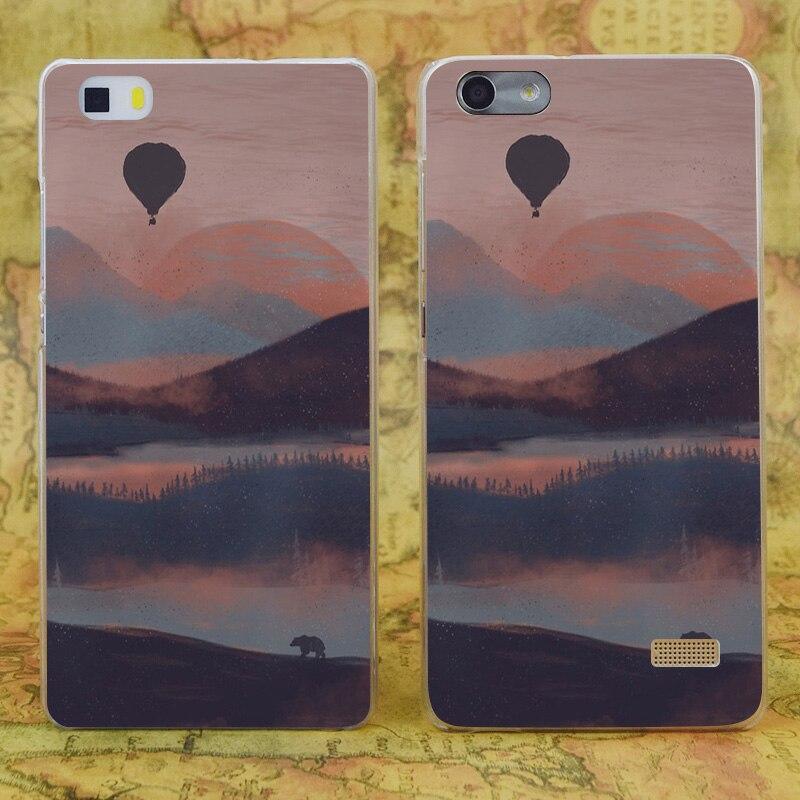 E2045 по течению в горы прозрачный жесткий тонкой кожи, чехол для Huawei P 6 7 8 9 lite плюс honor 6 7 4c 4x G7