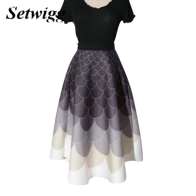 SETWIGG Hepburn Style Mermaid Printed Flare Thick Spring Skirt Stretch Waist Dotted Wave Striped Pleated Puff Long Autumn Skirt