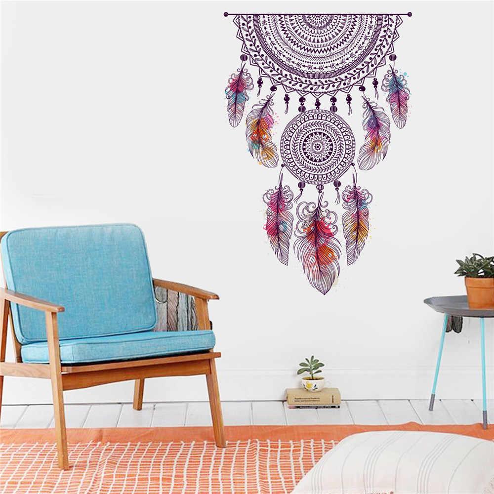Dapat Dilepaskan DIY Rumah Dinding Stiker Mandala Hiasan Bulu Keluarga Rumah Stiker Mural Seni Dekorasi Rumah untuk Ruang Tamu dan Kamar Tidur