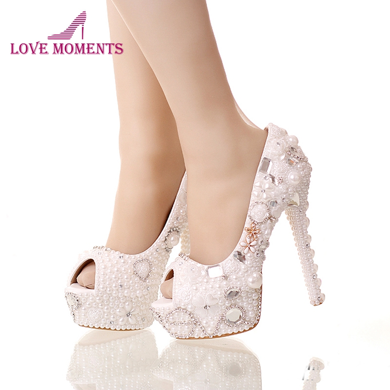 2018 Summer Peep Toe White Pearl Shoes Wedding Bridal 14cm High Heels Platform Crystal Bride Shoes Handmade Party Prom Pumps white pearl mother of the bride shoes with red bowtie wedding party prom high heels cinderella event shoes bridal pumps