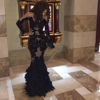 Robe De Soiree Black and Champagne Lace Mermaid Evening Prom Dresses Scoop Neck Long Sleeve Floor Length for Wedding Party