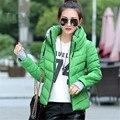 Chegada nova Moda Feminina Para Baixo Casaco Jaqueta de Inverno Outerwear Amassado Feminino Jaqueta Curta Parka Casaco Acolchoado Mulheres MC1095