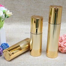 цены Gold Wire-drawing Empty Cosmetic Airless Bottle Portable Refillable Pump Dispenser Bottles For Travel Lotion 100pcs/lot 30ml