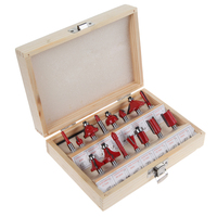 Brand New 15pcs Router Bit Set Kit Shank Tungsten Carbide Rotary Tool Wood Case Box Wood