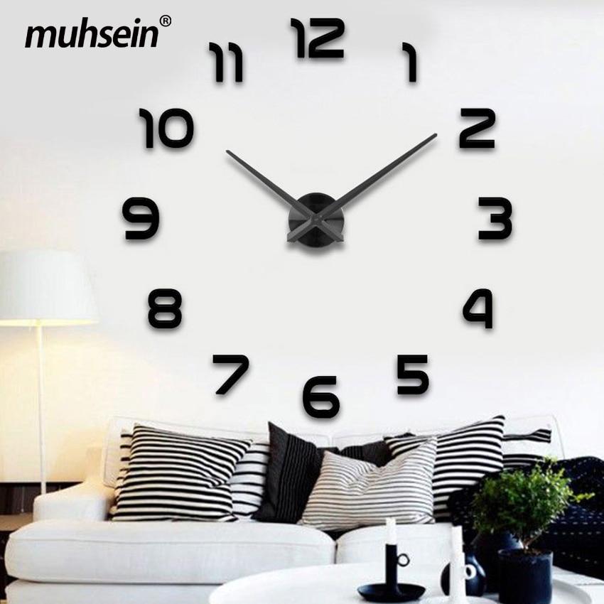 2019wedding Decoration WallClock Watch Muhsein 3D DIY Acrylic Mirror Wall Stickers  Decor Living Room Quartz Needle FreeShipping