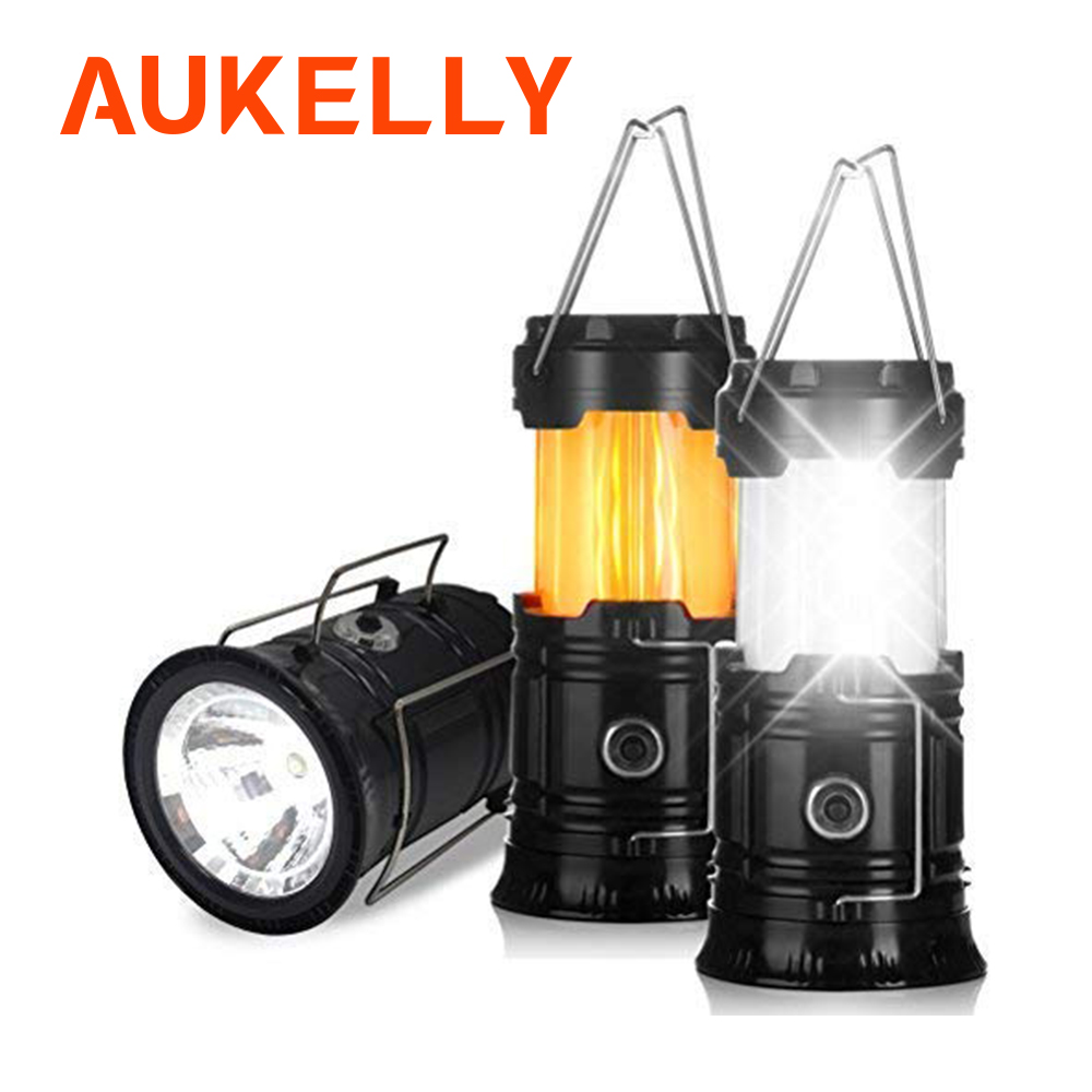 3-en-1 Led flamme lanterne camping lumière pliable extérieur Portable éclairage étanche tente suspendue lampe de poche puissance par 3 * AA