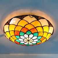 Tiffany Mediterranean Stained Glass Flush Mount Light 2 Lights Retro Creative Flower Pattern Dedroom Kitchen Ceiling