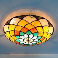 Tiffany Mediterranean Stained Glass Flush Mount Light 2 lights Retro Creative Flower Pattern Dedroom Kitchen Ceiling Lamp CL284
