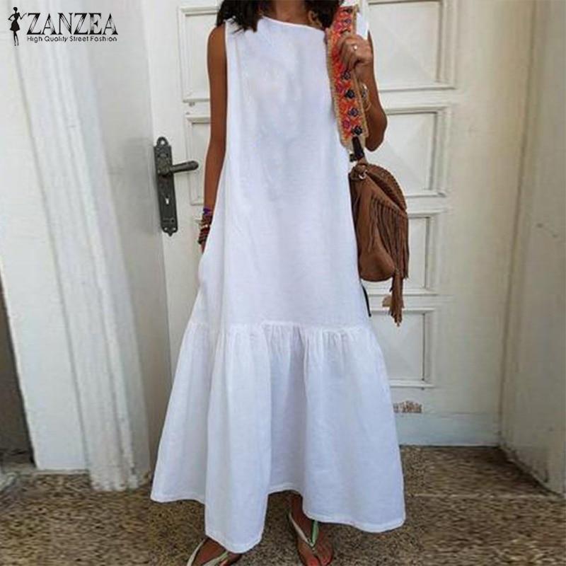 ZANZEA Summer Sundress Women Sleeveless Maxi Long Dress Casual Ruffles Party Vestido Female Solid Beach Sarafans Tanks Dress 5XL