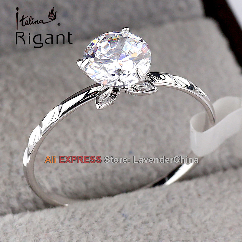 A1-R3132 Italina Rigant Fashion Solitaire Ring 18KGP CZ Jewelry Size 5.5-9 ...