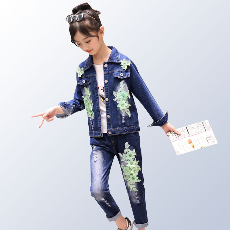 Children Denim Clothing Set for Girls Jacket +Jeasns 2pcs 2019 Spring Kids Suit Long Sleeve Embroidered Flower Clothes for 6-14T spring outfits for kids