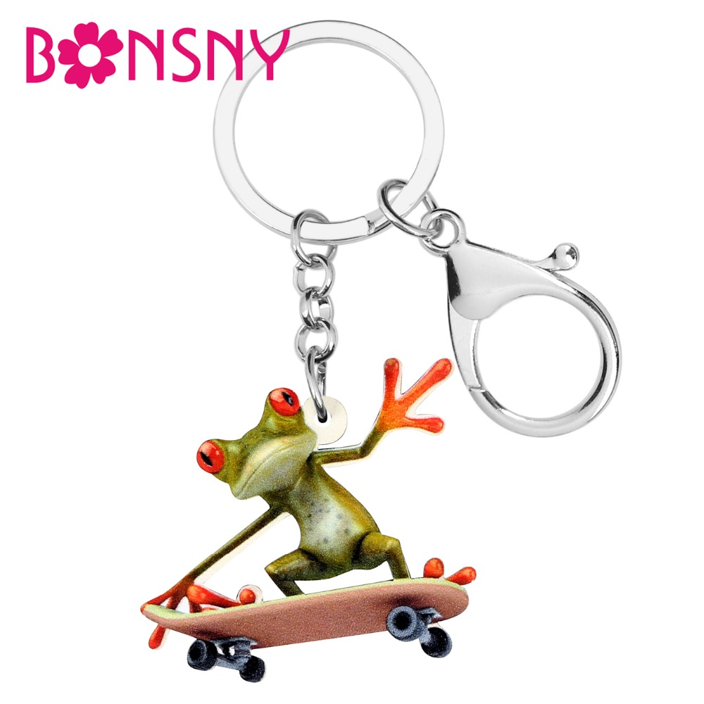 Bonsny Statement Acrylic Skateboard Frog Key Chains Keychains Ring Anime Funny Jewelry For Women Girls Teens Bag Charms Gift
