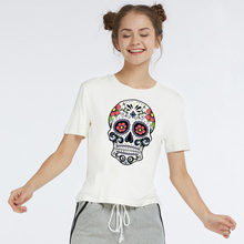 цены на LUS LOS Skull Print Short Sleeve Women White T-Shirt Comfortable Stylish T-Shirt Now Fashion White Cotton Women T-shirts  в интернет-магазинах
