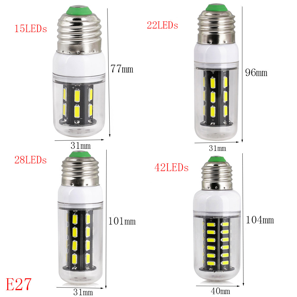 E27 E14 LED Light Bulb 7030 SMD LED Corn Bulb SMART IC Chip Control Power Longer Life 9W 12W 15W 24W 220V LED Spotlights