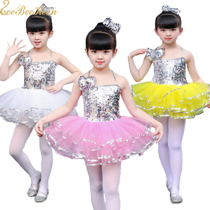Girls Modern Dance Costume Ballet tutu Sling Silver Sequins Professional Performance Clothes Children Jazz Dance Dress For Kids