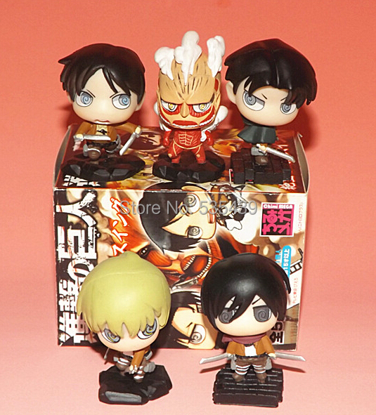 NEW Hot 5pcs/set 6cm Attack On Titan Q version PVC Action Figure toys Christmas gift toy