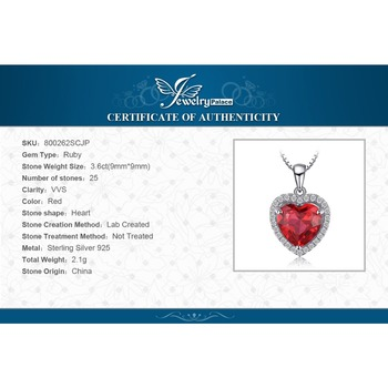 Heart Created Red Ruby Pendant Necklace  5