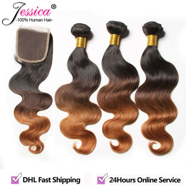 Ombre Brazilian Virgin Hair With Closure 3 Bundles Body Wave With Closure Rosa Hair Products Ombre Human Hair Weave With Closure