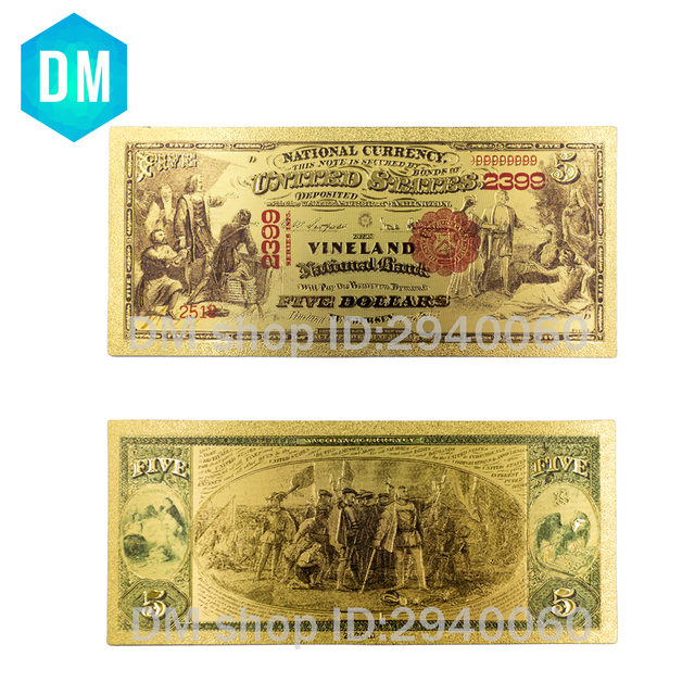 Home Decorative 1 Dollar World Paper Money 24k 999 9 Usd Gold Banknote Value Collection