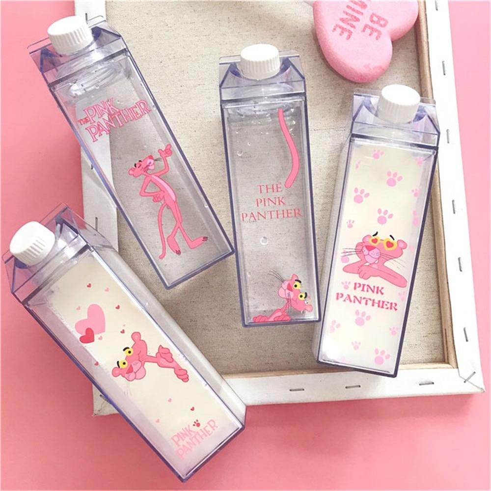 Botellas de agua lindas únicas de 500 ml con forma de caja de leche de plástico transparente de dibujos animados Pantera Rosa botella de bebida de té de cerveza de café