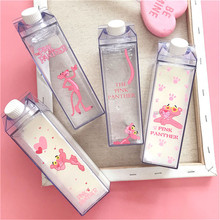 Unique 500ml Cute Water bottles Milk Box Shape Transparent Plastic Cartoon pink panther Drink Bottle Coffee Beer Tea Drinkware