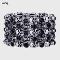 Skull Stretch Bracelet For Women Silver Tone Punk Halloween Biker Crystal Wide Cuff Fashion Jewelry Wholesale